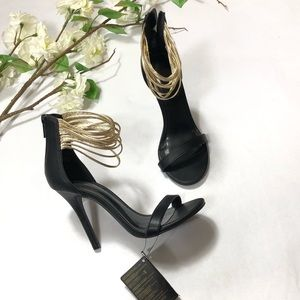 NWT Forever 21 Gold Ankle Strappy Heel Sandals
